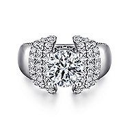 Connie 14k White Gold Round Straight Engagement Ring angle 1