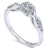Cooper 14k White Gold Round Halo Engagement Ring angle 3