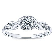 Cooper 14k White Gold Round Halo Engagement Ring angle 5