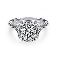Cordula 18k White Gold Round Halo Engagement Ring angle 1