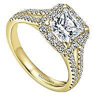 Corinna 14k Yellow Gold Princess Cut Halo Engagement Ring angle 3