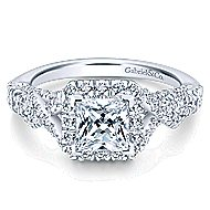 Corinthia 14k White Gold Princess Cut Halo Engagement Ring angle 1