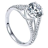 Cosmic 18k White Gold Round Split Shank Engagement Ring angle 3