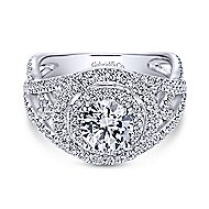Cosmina 14k White Gold Round Double Halo Engagement Ring angle 1