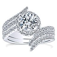 Cosmo 14k White Gold Round Halo Engagement Ring angle 4