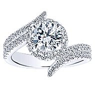 Cosmo 14k White Gold Round Halo Engagement Ring angle 5