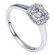 Courage 14k White Gold Round Halo Engagement Ring angle 3