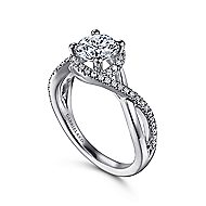 Courtney 14k White Gold Round Twisted Engagement Ring angle 3