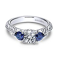Couture 14k White Gold Round 3 Stones Engagement Ring angle 1