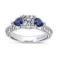 Couture 14k White Gold Round 3 Stones Engagement Ring angle 5