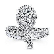 Cressida 14k White Gold Oval Halo Engagement Ring angle 4