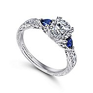 Cruz Platinum Round 3 Stones Engagement Ring angle 3