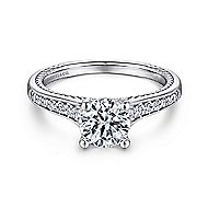 Cyan 14k White Gold Round Straight Engagement Ring angle 1