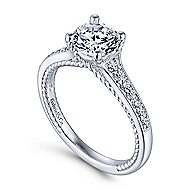 Cyan 14k White Gold Round Straight Engagement Ring angle 3