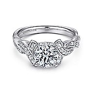 Cynthia 14k White Gold Round Twisted Engagement Ring angle 1