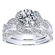 Cynthia 14k White Gold Round Twisted Engagement Ring angle 4
