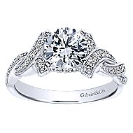 Cynthia 14k White Gold Round Twisted Engagement Ring angle 5