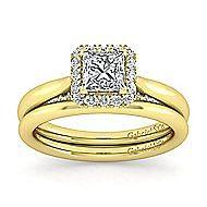Cypress 14k Yellow Gold Princess Cut Halo Engagement Ring angle 4