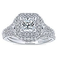 Dahlia 14k White Gold Princess Cut Double Halo Engagement Ring angle 4