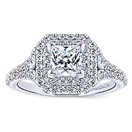 Dahlia 14k White Gold Princess Cut Double Halo Engagement Ring angle 5