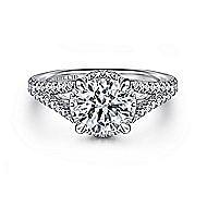 Damiana 18k White Gold Round Halo Engagement Ring angle 1
