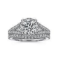 Damiana 18k White Gold Round Halo Engagement Ring angle 4