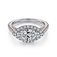 Daphne 18k White And Rose Gold Marquise  Halo Engagement Ring angle 1