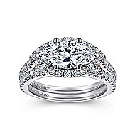 Daphne 18k White And Rose Gold Marquise  Halo Engagement Ring angle 4
