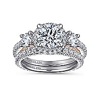 Darla 18k White And Rose Gold Round 3 Stones Halo Engagement Ring