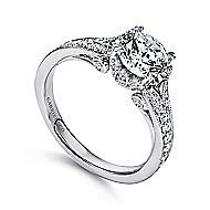 Darling 18k White Gold Round Split Shank Engagement Ring angle 3
