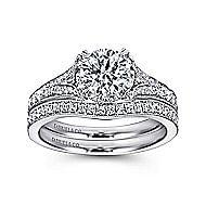 Darling 18k White Gold Round Split Shank Engagement Ring angle 4