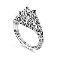 Darren 14k White Gold Round Straight Engagement Ring