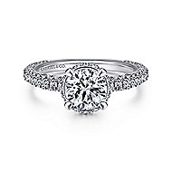 Dauphine 14k White Gold Round Straight Engagement Ring angle 1