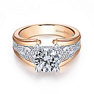 Dean 14k White And Rose Gold Round Twisted Engagement Ring angle 1