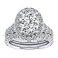 Deborah 18k White Gold Oval Halo Engagement Ring angle 4