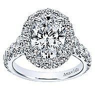 Deborah 18k White Gold Oval Halo Engagement Ring angle 5