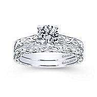 Dede 14k White Gold Round Straight Engagement Ring angle 4