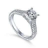 Dee 14k White Gold Round Straight Engagement Ring angle 3