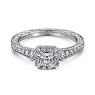 Delancey 14k White Gold Princess Cut Halo Engagement Ring angle 1