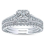 Delancey 14k White Gold Princess Cut Halo Engagement Ring angle 4