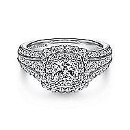 Delilah 14k White Gold Cushion Cut Double Halo Engagement Ring angle 1