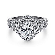 Delilah 14k White Gold Oval Double Halo Engagement Ring angle 1