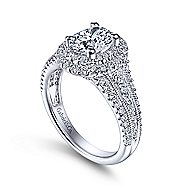 Delilah 14k White Gold Oval Double Halo Engagement Ring angle 3