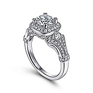 Delilah 14k White Gold Round Halo Engagement Ring