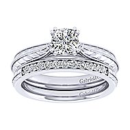 Della 14k White Gold Cushion Cut Solitaire Engagement Ring