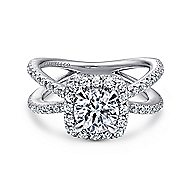 Delphinia 14k White Gold Round Halo Engagement Ring angle 1