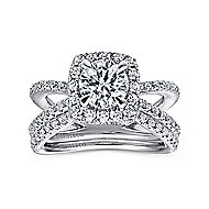Delphinia 14k White Gold Round Halo Engagement Ring angle 4