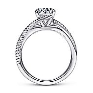Delta 14k White Gold Round Bypass Engagement Ring angle 2