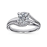 Delta 14k White Gold Round Bypass Engagement Ring angle 5