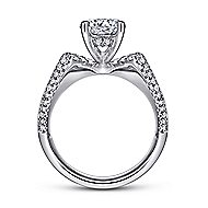 Denise 14k White Gold Round Straight Engagement Ring angle 2